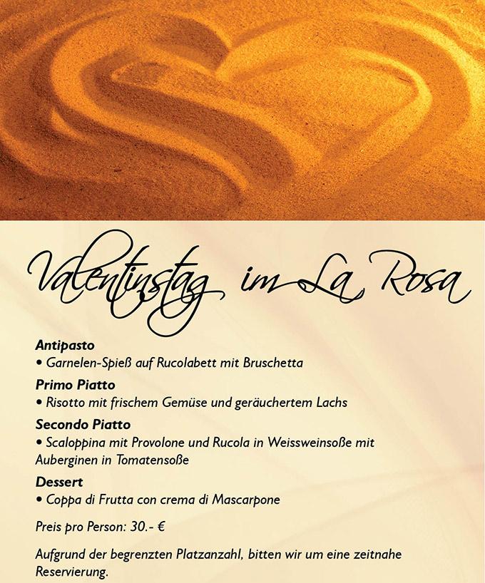 Valentinstag 2014 - Menü im La Rosa
